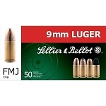 9mm 124 gr SB - Sellier & Bellot SB 9mm ammo 124 gr FMJ 50 rnd per box